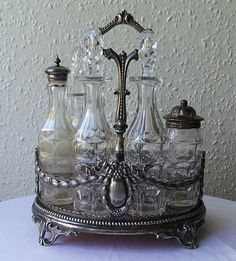 Spa Kamper Note : Antique cruet set is a good example of creative containers to hold treatment room supplies. Marketing tip - it gives clients something interesting to talk about to others about you