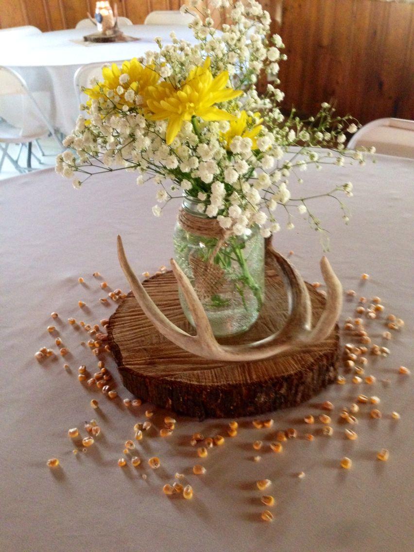 Rustic barn country wedding centerpieces. Easy diy. Mason