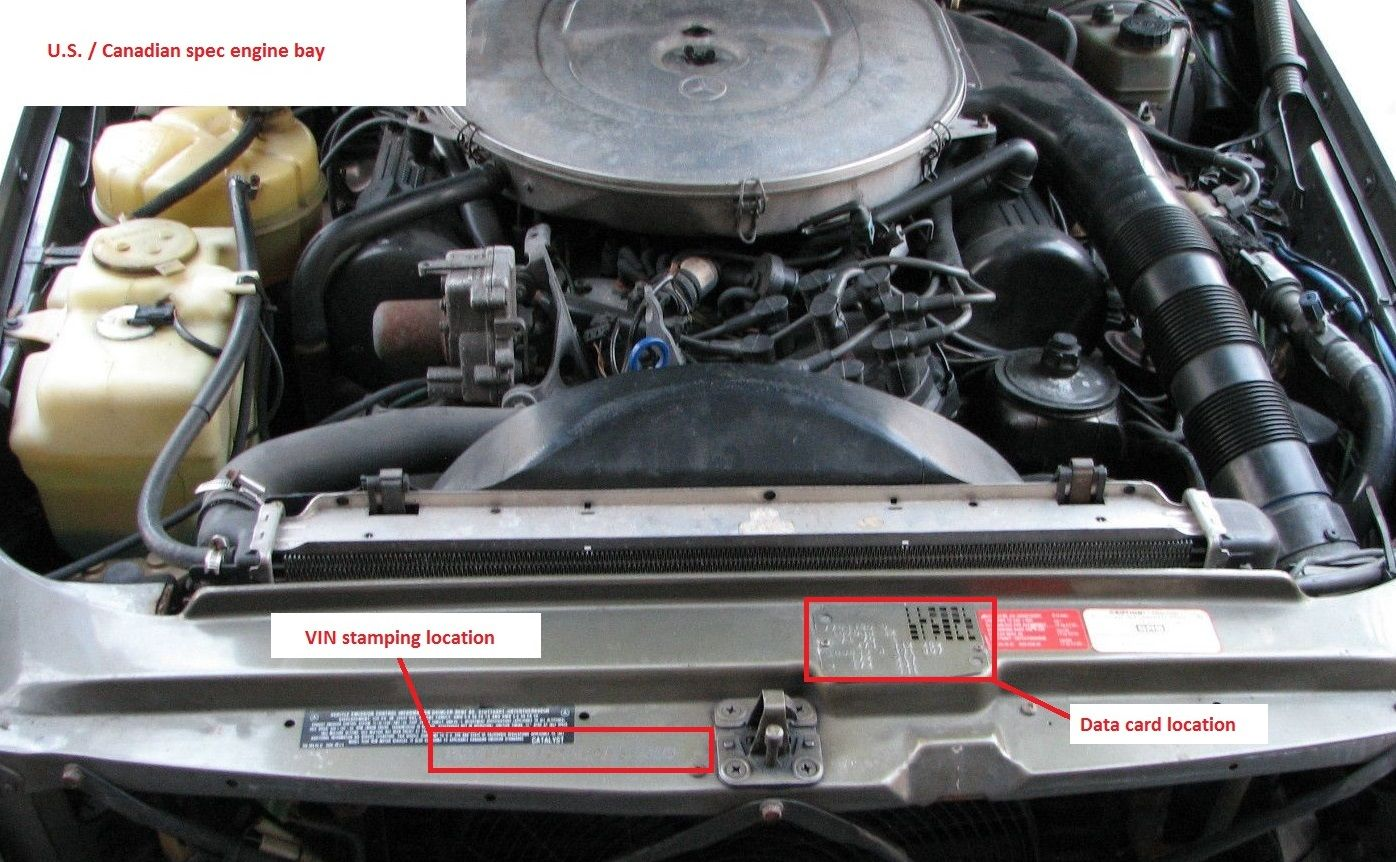 Mercedes r107 560sl data card location and vin stamping for Mercedes benz vin number location