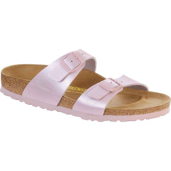 53abe9492 Birkenstock Women s Sydney Rosa Birko-Flor Slide Sandals ( 95) ❤ liked on  Polyvore featuring shoes