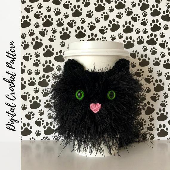 Cat Crochet Pattern, Cozy Crochet Pattern, Crochet Gift Ideas, Quick Crochet Pattern, Crochet Cup Cozy, Mug Cozy Pattern, Cat Coffee Cozy