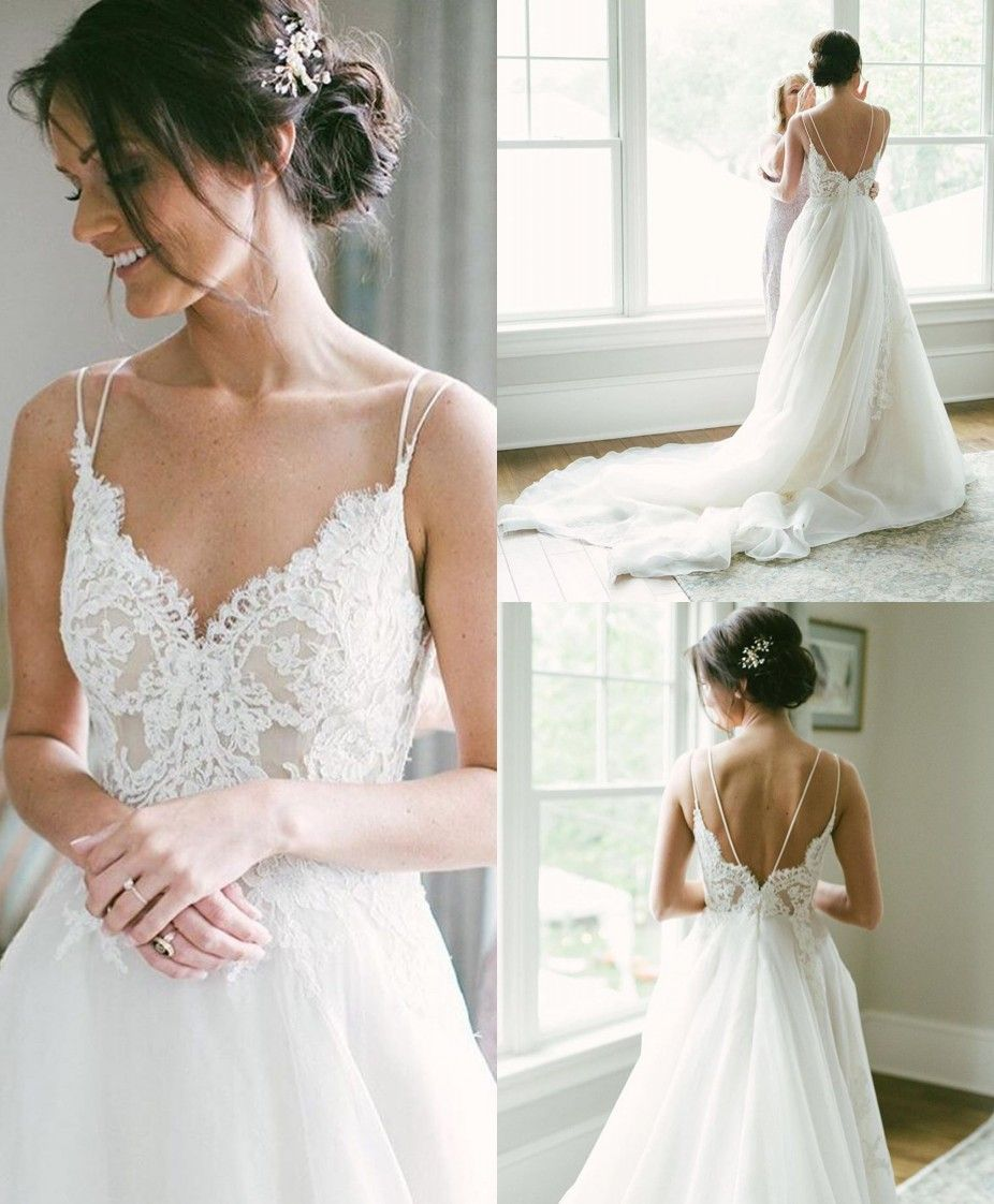 A-Line Spaghetti Straps Backless Wedding Dress with Lace