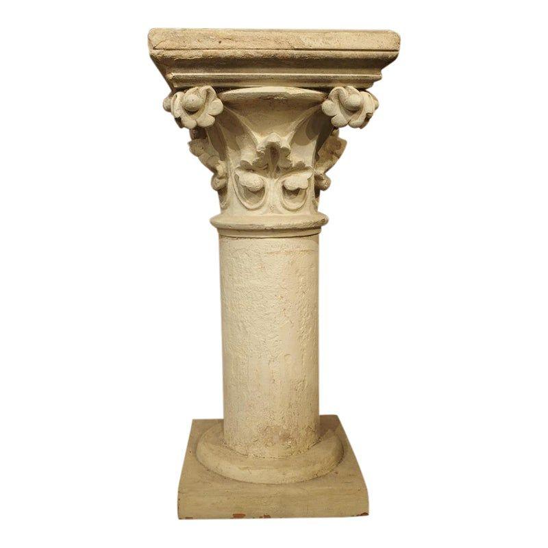 Antique Neo Gothic Terra Cotta Pedestal From France Circa