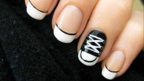 ... Nail Art Golden Nails Black and white nail designs Ombre nail design