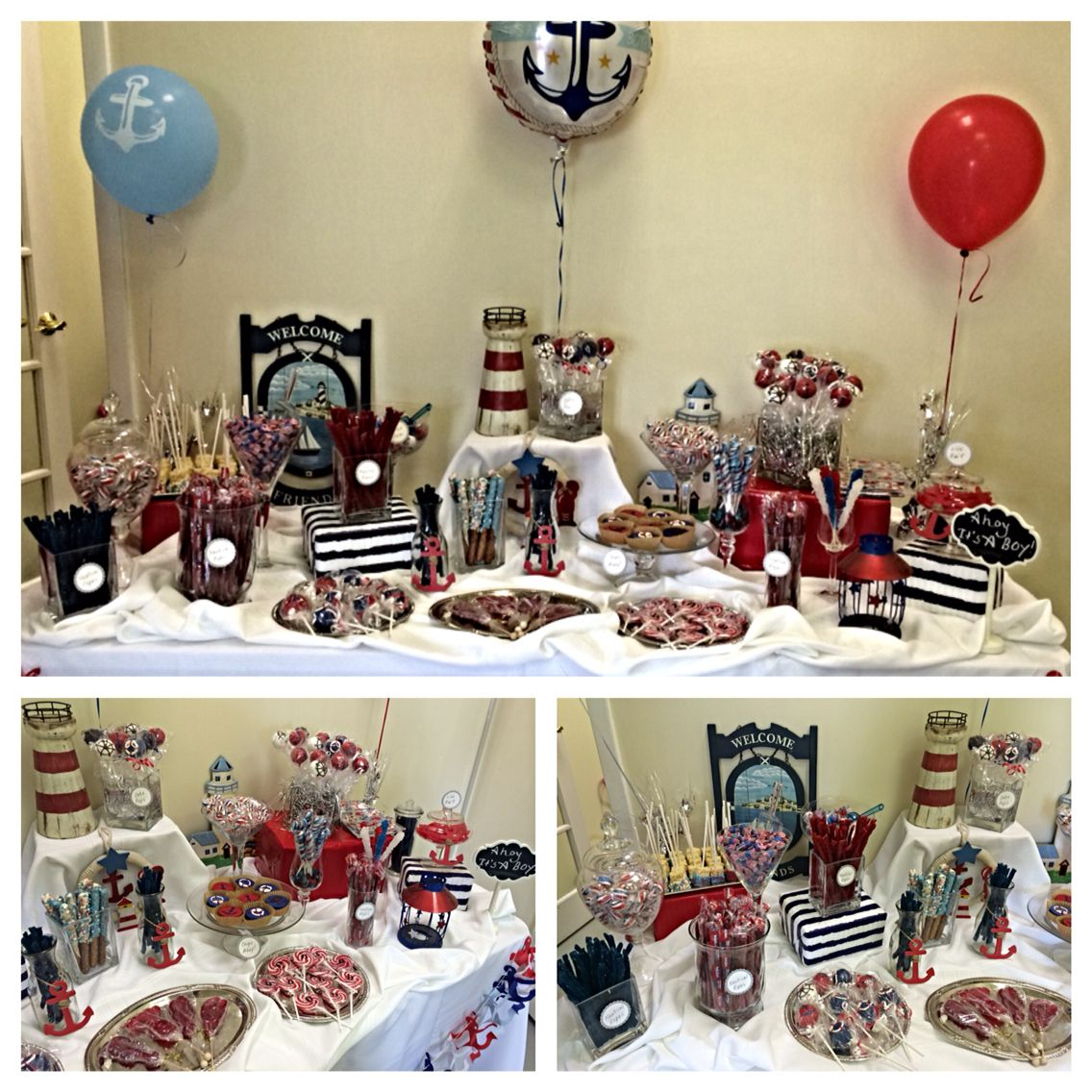 nautical baby shower candy table ahoyitsaboy