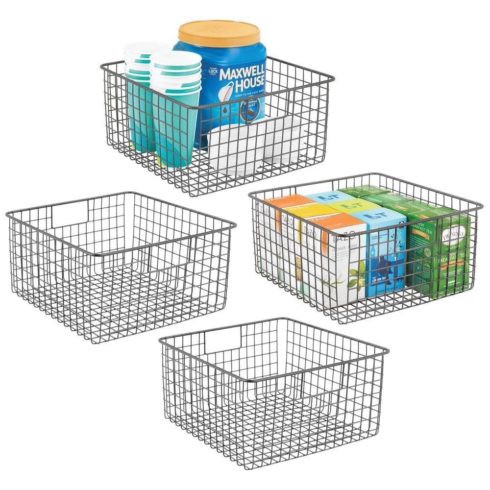 Metal Wire Kitchen Pantry Food Storage Basket 12 X 12 X 6 Food Storage Organization Food Storage Kitchen Cabinet Handles