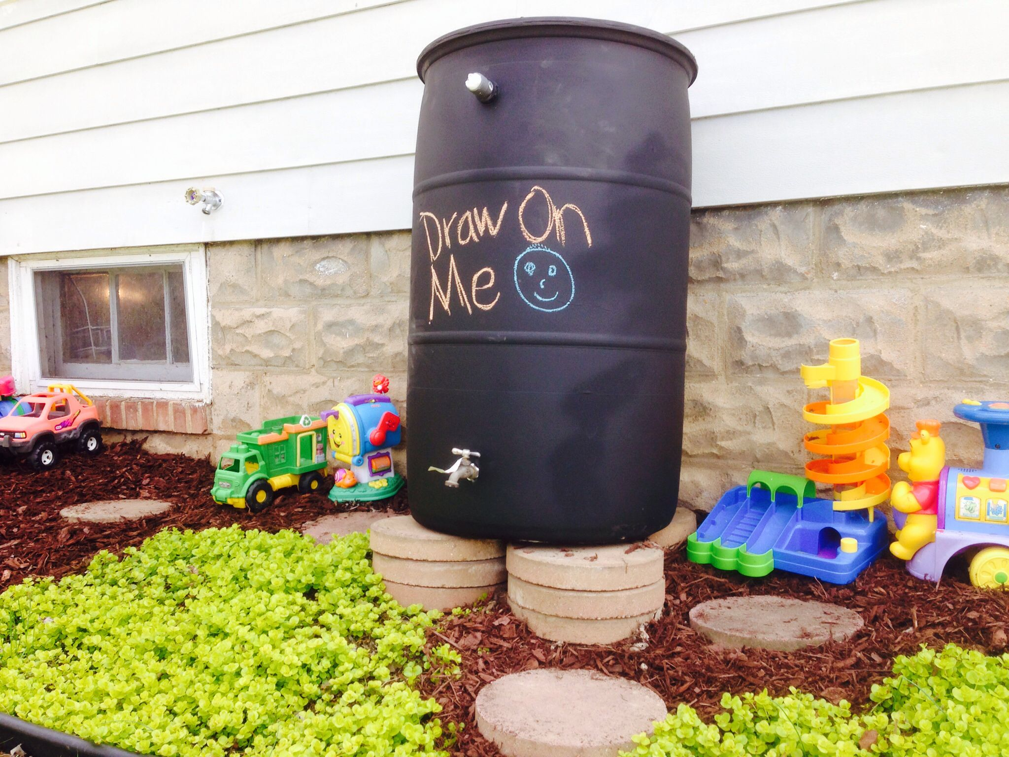 Chalkboardpainted rain barrel Rain barrel, Backyard