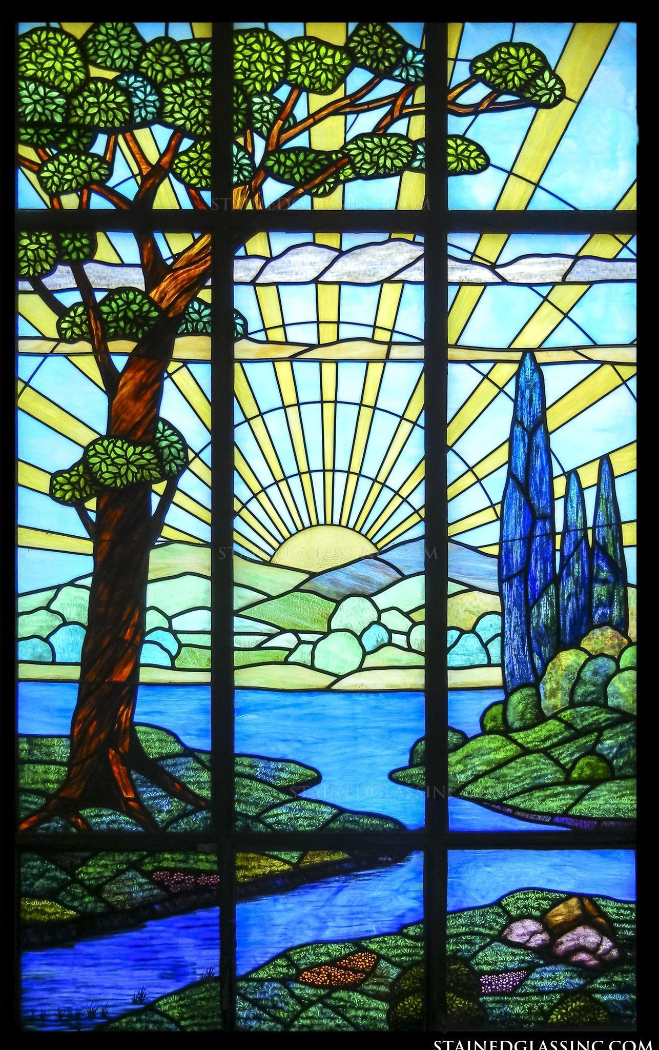 Sunrise Stained Glass Window Glas In Lood Glas Landschap