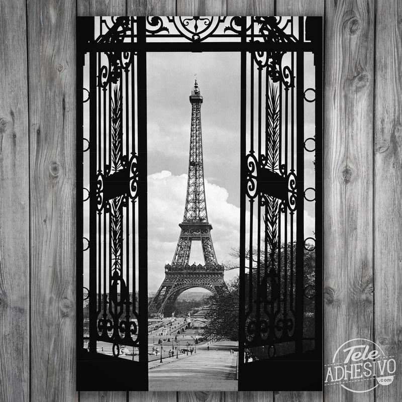 Vinilos decorativos p ster adhesivo puerta y torre eiffel - Posters y vinilos ...