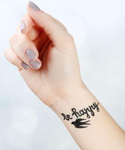 Be Happy Elegant Wrist Tattoo Design Wrist Tattoos For Guys Meaningful Wrist Tattoos Wrist Tattoos Words