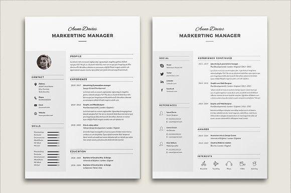 Resume Cv Anna by Estartshop on @creativemarket Ready for Print - resume template