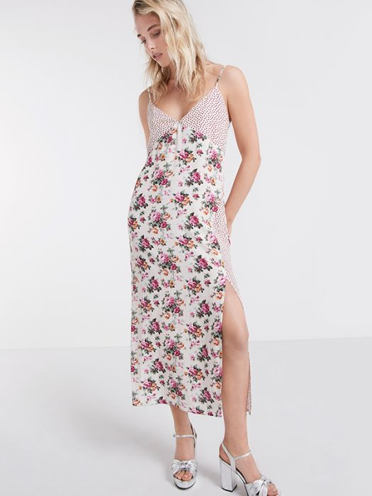 c40e47e46a Cream Mixed Print Slip Dress | (D)resses | Patchwork dress, Dresses ...