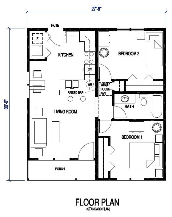 Floor plan standard second home pinterest for Free 3 bedroom bungalow house plans