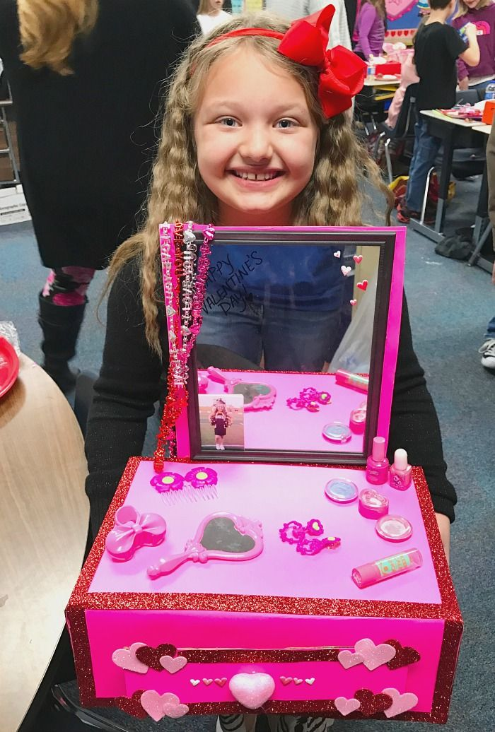 Valentines Day Boxes For School--Vanity Valentine Box Idea For Girls