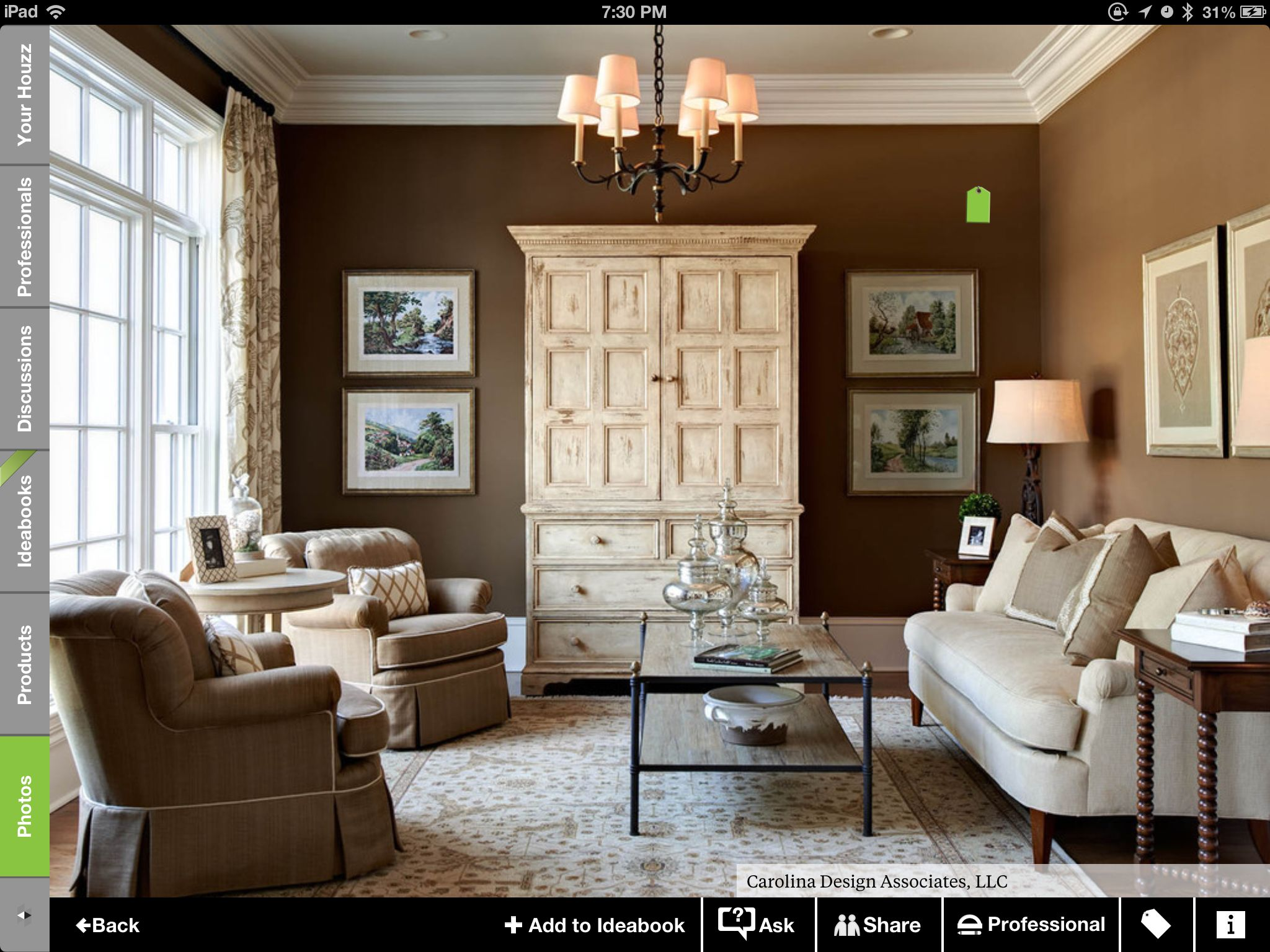 Wall Color Sherman Williamsu0027 Tea Chest Traditional Living Room By Carolina  Design Associates, LLC Part 95