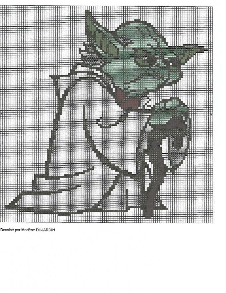 grille gratuite Star Wars : Yoda | Star wars, Point de croix et Art de la mosaïque
