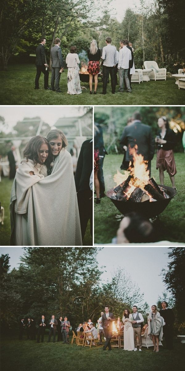 cozy outdoor winter wedding with a fire pit & blankets
