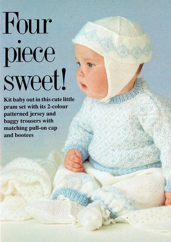 PDF Vintage Baby Boy Knitting Pattern Fair Isle Helmet Bonnet ...