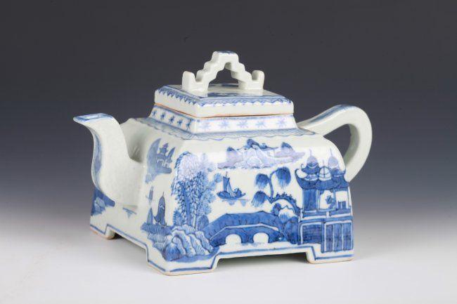 "18th C. Chinese Blue & White Teapot Dimension: 7""L x 4""W"