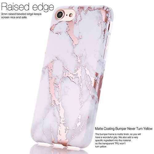 8a69bff436 iPhone 7 Plus Case, Shiny Rose Gold White Marble Design, BAISRKE Clear  Bumper Matte TPU Soft Rubber Silicone Cover Phone Case for Apple iPhone 7  Plus ...