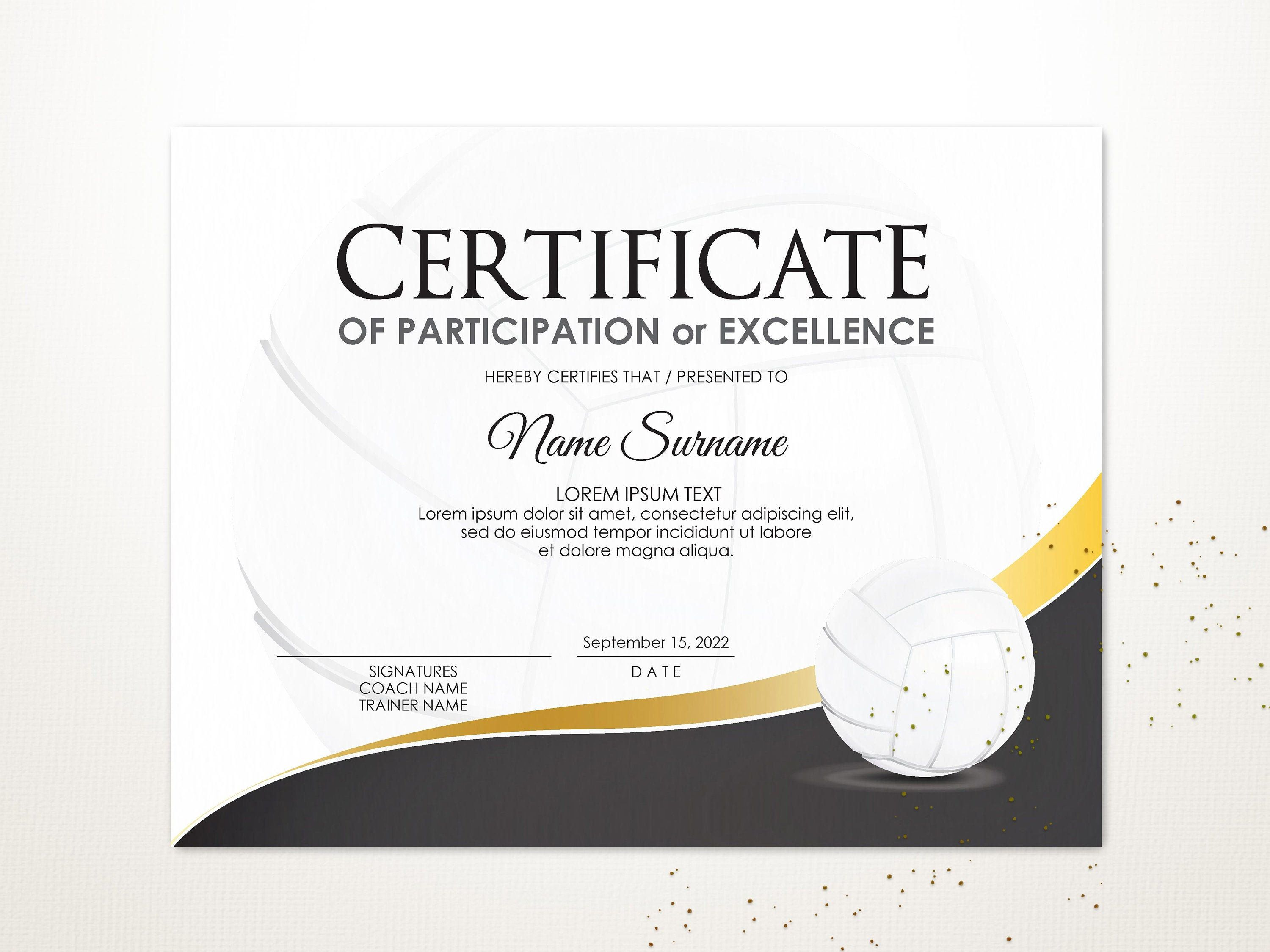 Editable Volleyball Certificate Template Sport Certificate Etsy Certificate Templates Certificate Of Participation Template Templates