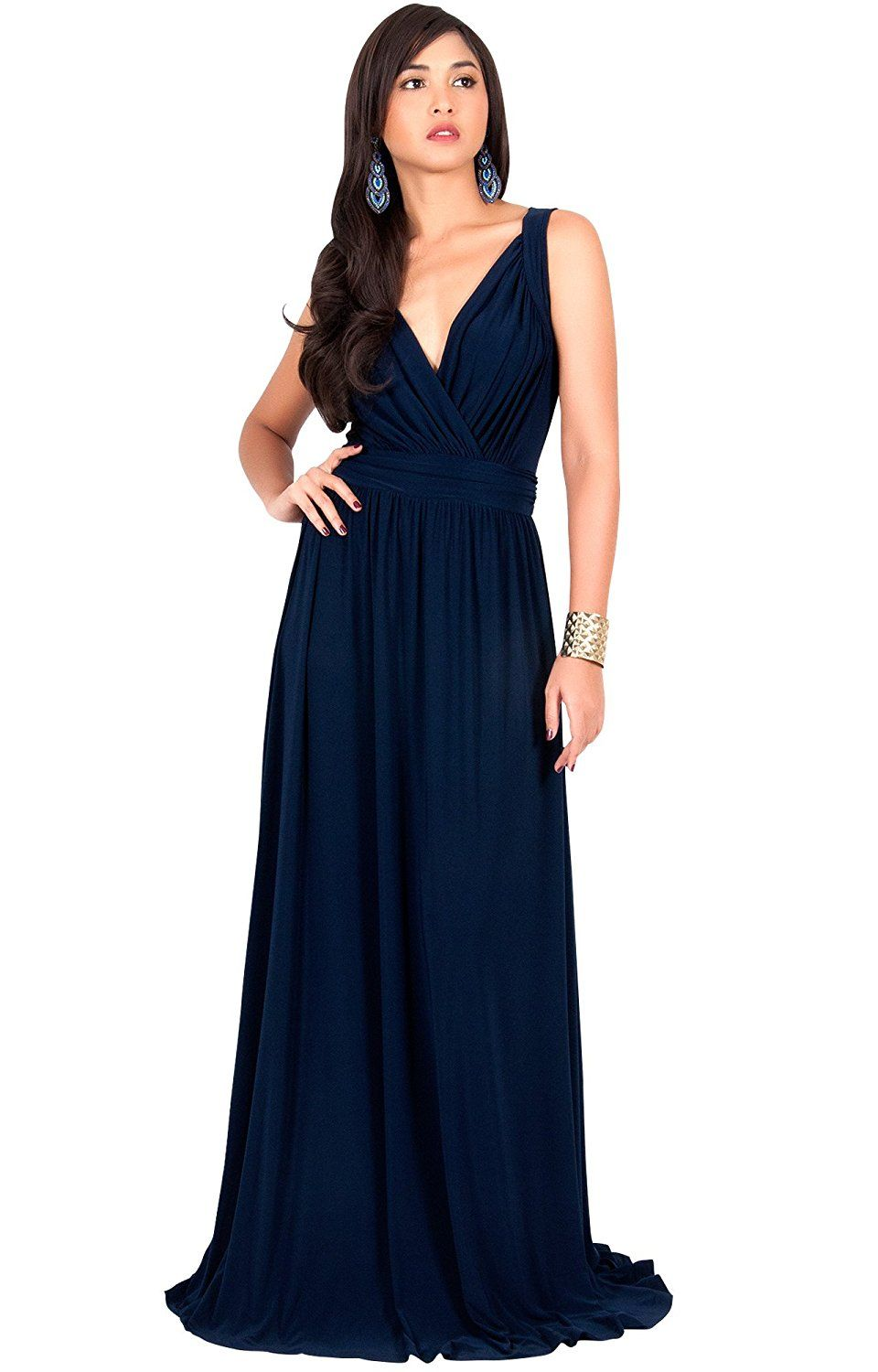 Koh koh womens long sleeveless flowy bridesmaid cocktail evening