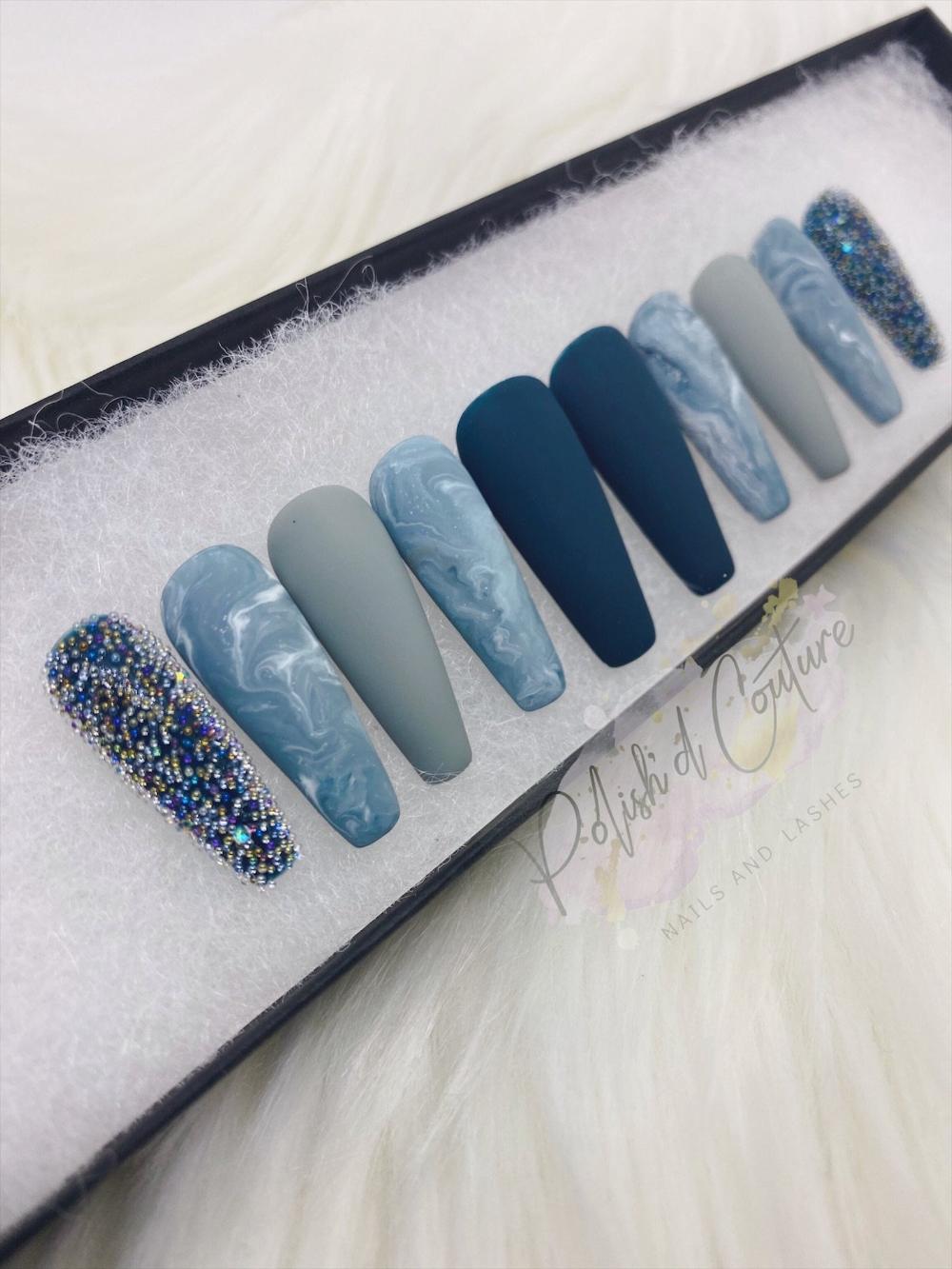 Press On Acrylic Nails Navy Blue Glitter