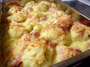 Rezept – Blumenkohl-Kartoffel-Gratin mit Schinken