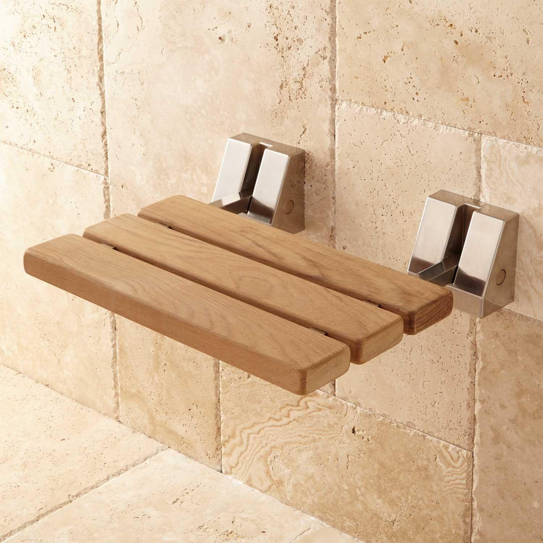 Wall Mount Teak Folding Shower Seat Shower Seats Bathroom