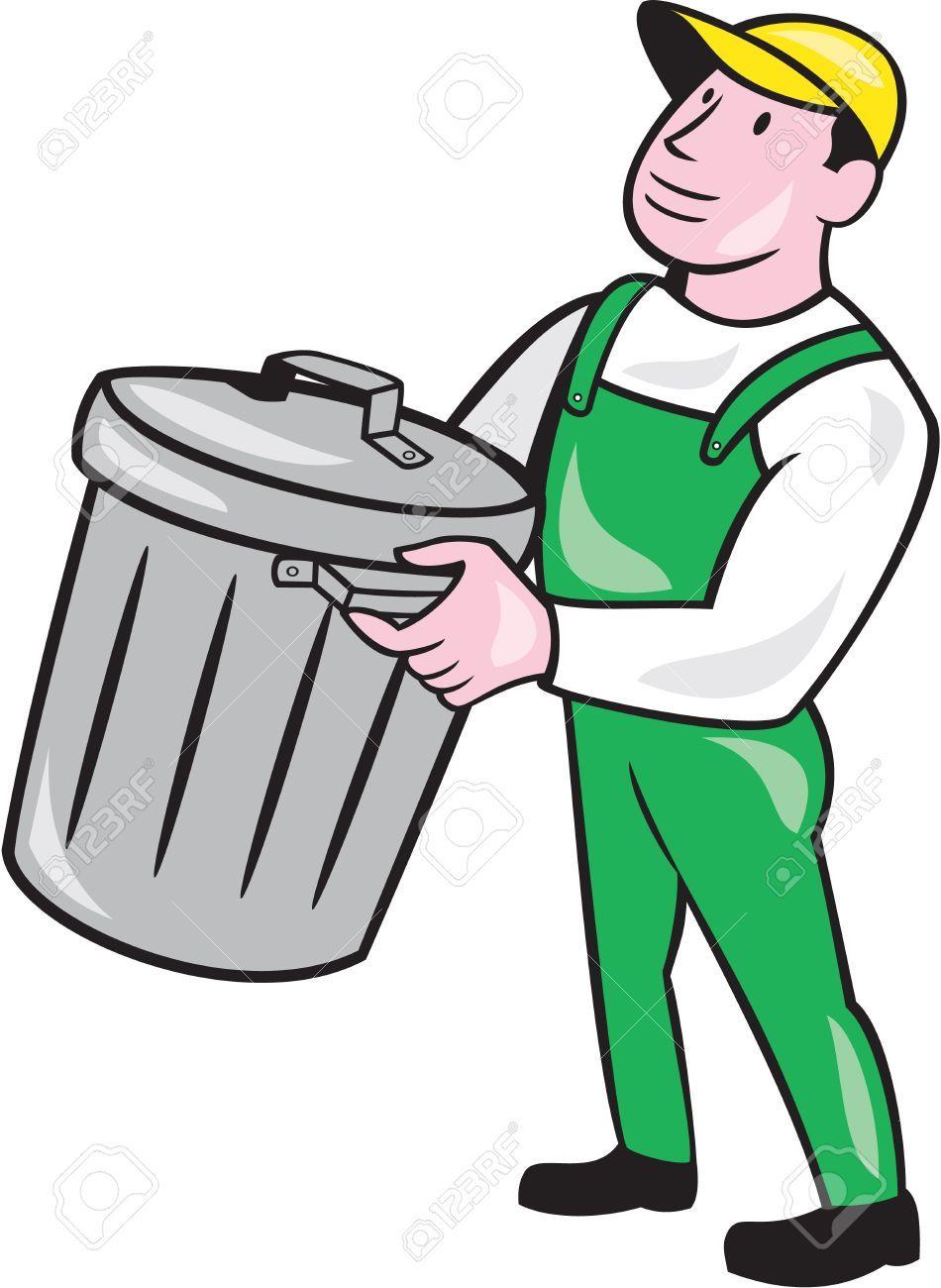 Ilustracion De Un Recolector De Basura Llevando Cubo De Basura De Residuos De Basura Buscando El Lado En El Fondo Blanco Aislado Hecho En Estilo De Dibujos Anim Cubo De Basura