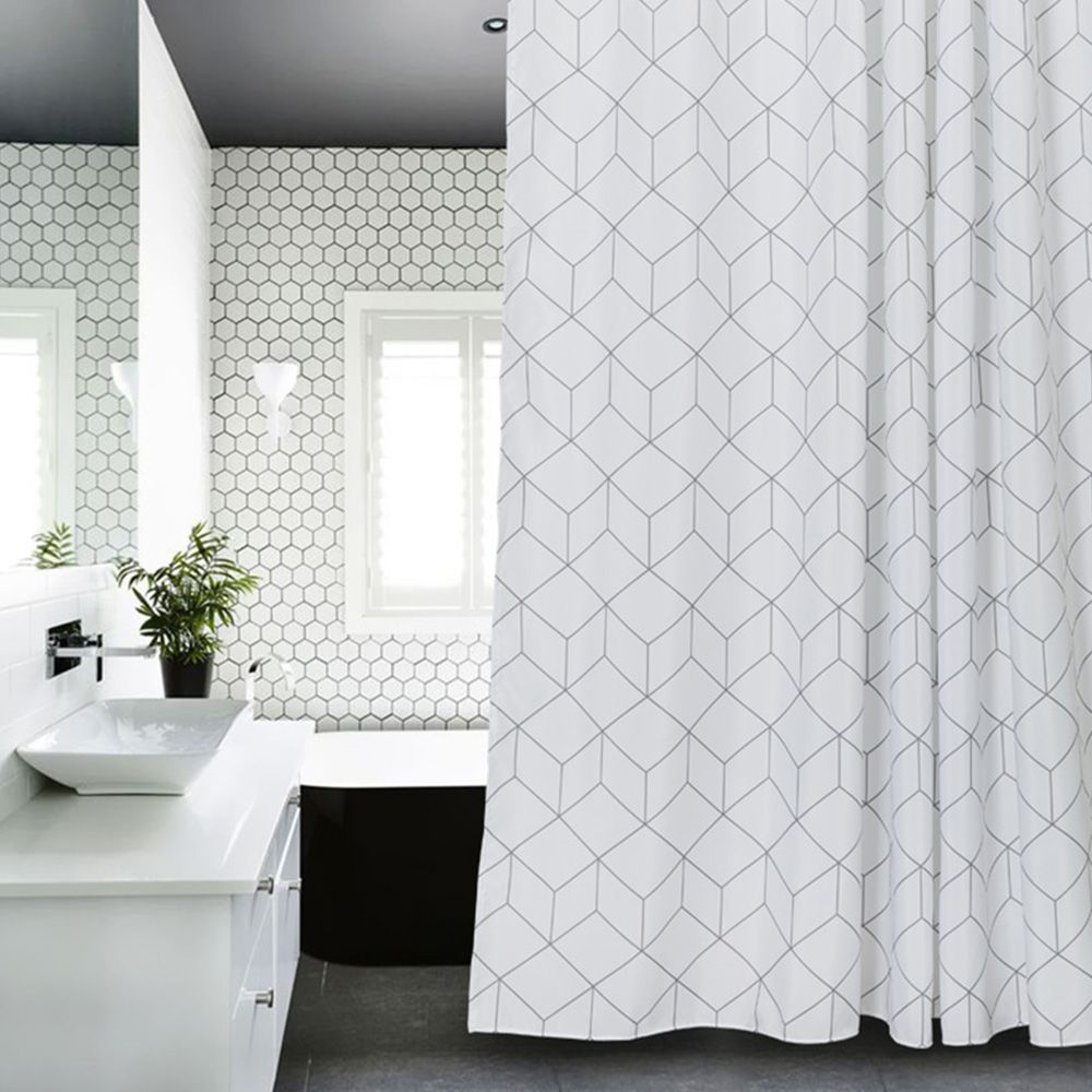 Aimjerry White and Grey Bathtub Bathroom Fabric Shower Curtain with ...
