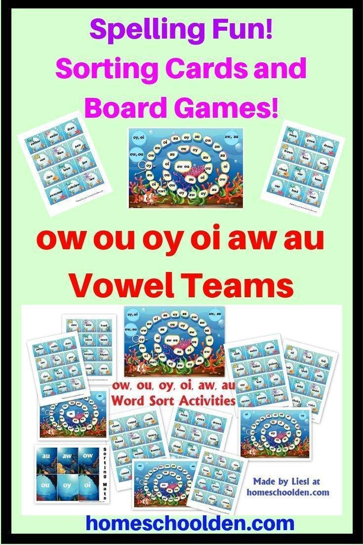 ow ou oy oi aw au Vowel Team Spelling Activities Your