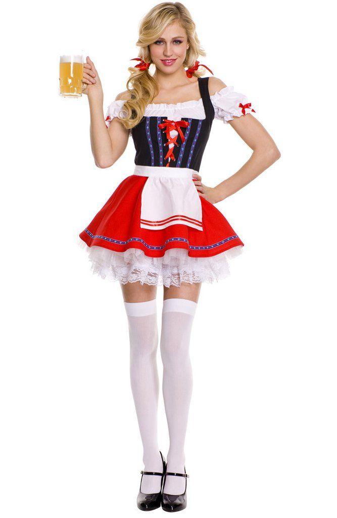 Women German Dirndl Dress Oktoberfest Beer Cosplay Costume Bavarian Outfit UK