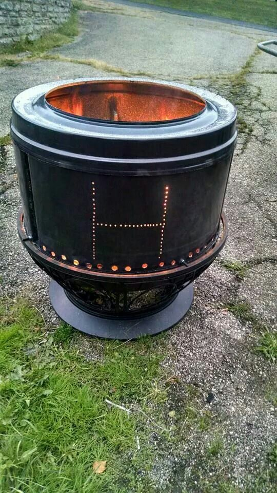 Fire Pit Made From A Recycled Drum From An Old Dryer My Brother