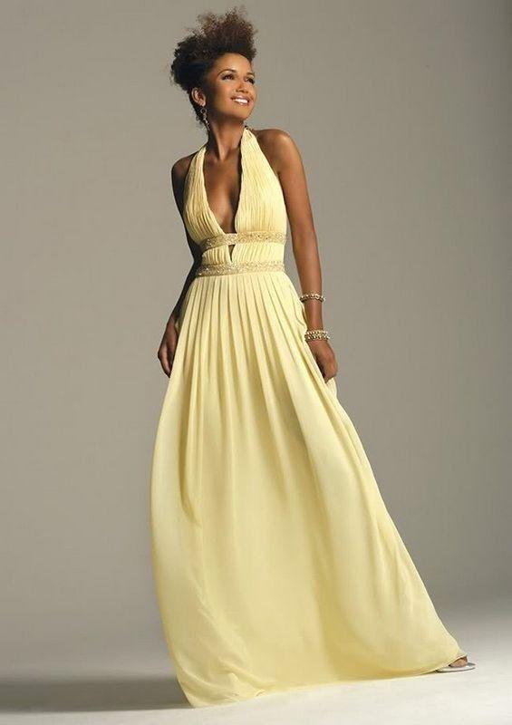 Robe longue de soiree jaune