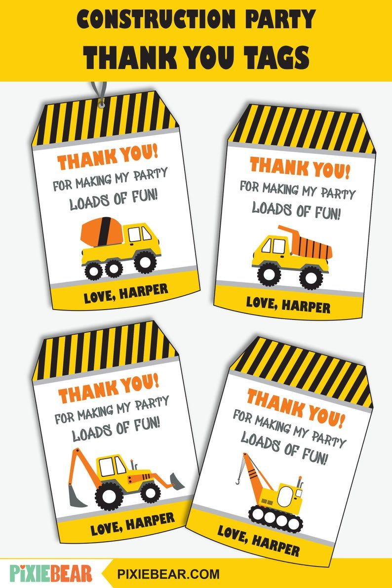 Construction Zone Birthday Party I Dig You Tags Large 4 Tags Instant Download