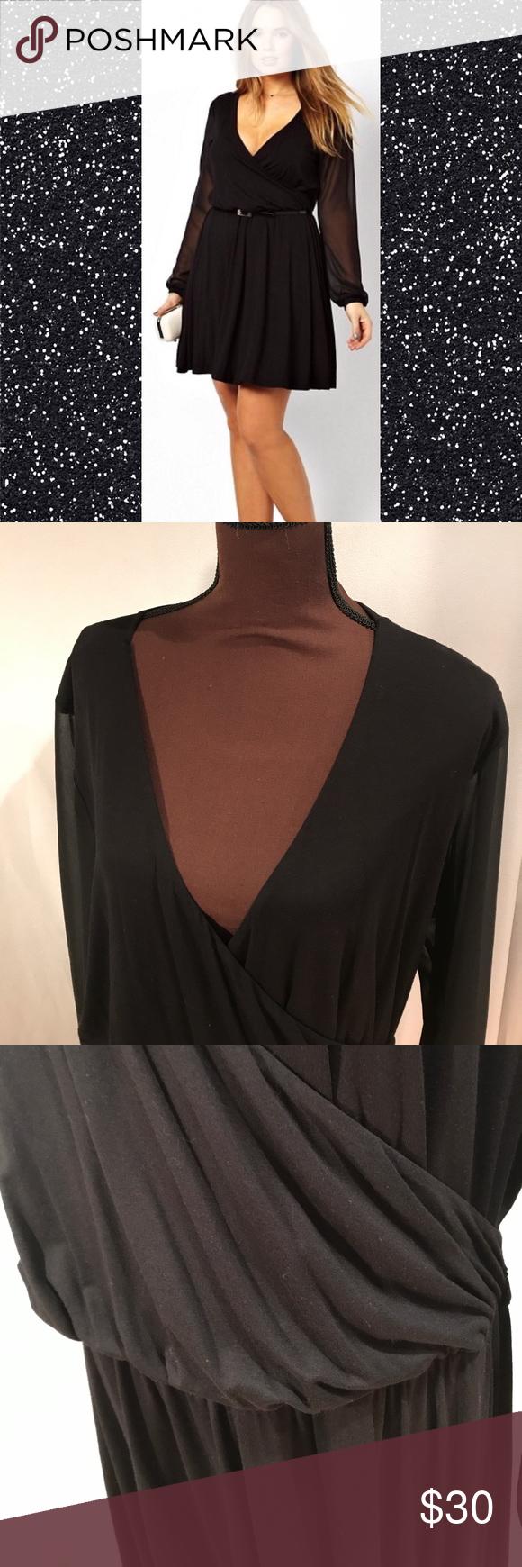Black pleated wrap dress w chiffon sleeve asos curve dresses