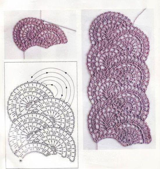 Tejido Facil: Patrón: abanicos entrelazados preciosos | Crochet ...