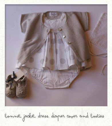 bonnet, jacket, dress, diaper cover and booties