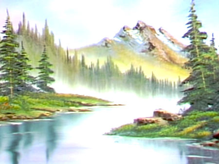 Morning Mist The Joy Of Painting S6e3 The Joy Of Painting Bob Ross Paintings Mists
