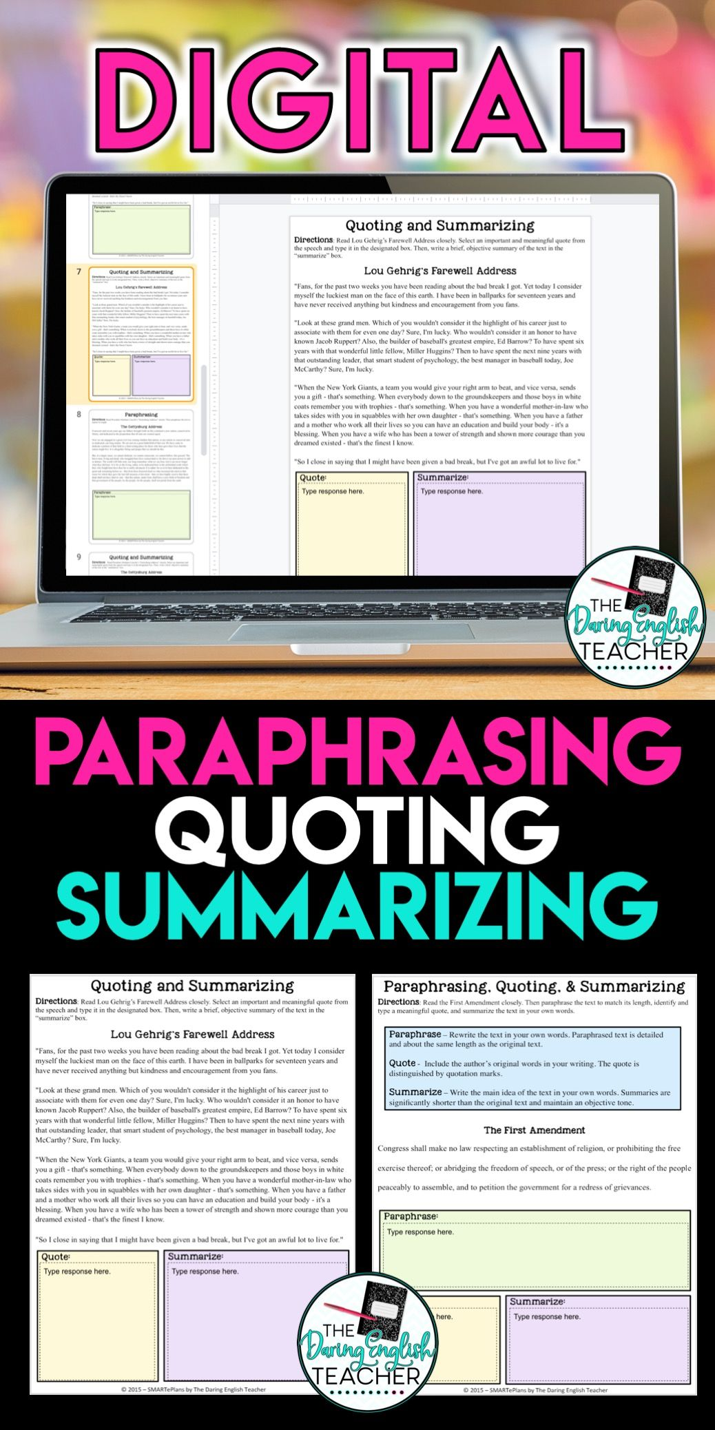 Paraphrasing Quoting Summarizing Digital Unit Distance Learning Writing Lesson Teaching Reading Skill Activities And Summary Exercises Exercise Pdf