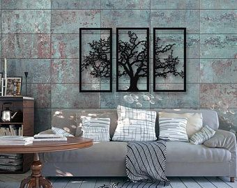 Tree Branches With Lovely Birds 4 Pieces Metal Wall Etsy Black Metal Wall Art Metal Wall Art Decor Wall Decor Living Room