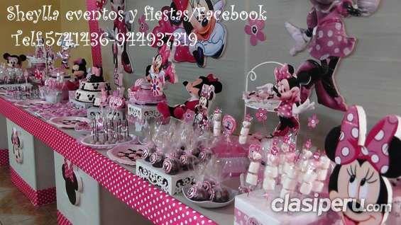 Sheylla eventos y fiestas/facebook Telf.5741436-944937319 Decoracon de Minnie , coqueta, Mouse, torta, bocaditos personalizados