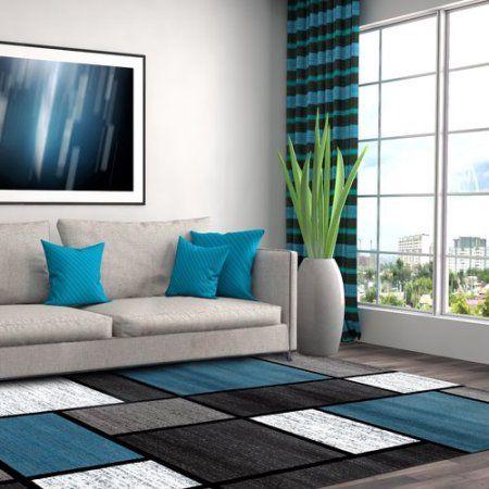 Blue Grey Polypropylene Contemporary Modern Boxes Area Rug