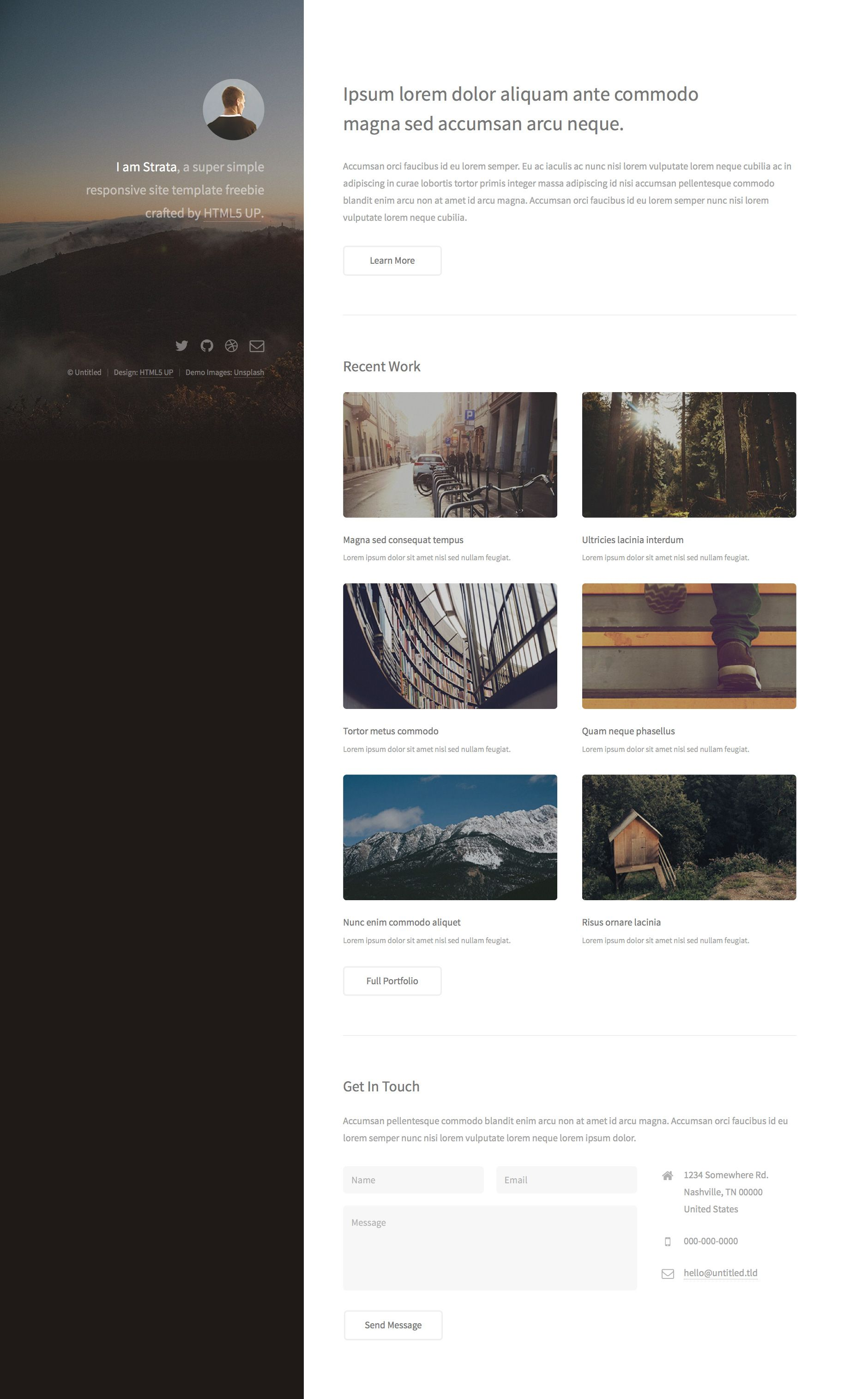 Strata Is A Simple Free Minimalist Responsive Personal Website