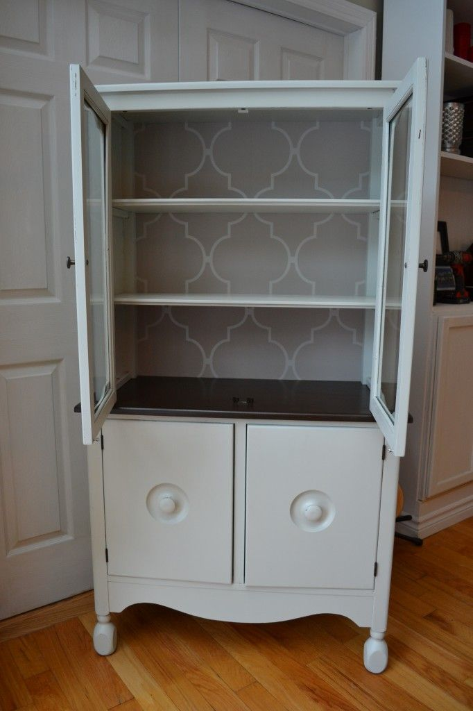 White china cabinet with wallpaper backing southernabbey.com ...