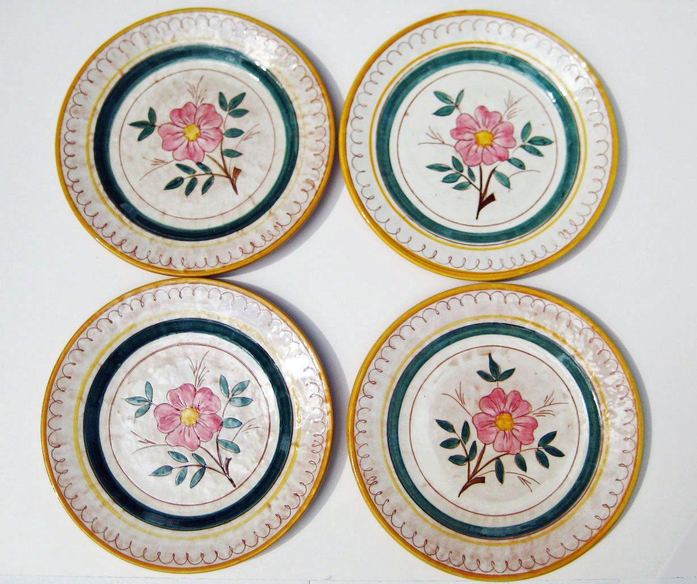 Vintage Stangl Pottery Garden Flower Dinner Plates Set of 4 Terra Rose Stangl Plates Circa 1940s  sc 1 st  Pinterest & Stangl Country Garden Plates Vintage Stangl Pottery Pink Flower ...