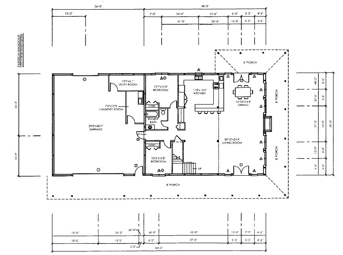58 0081 floor plan 1 129 840 pixels house plans Metal buildings house plans