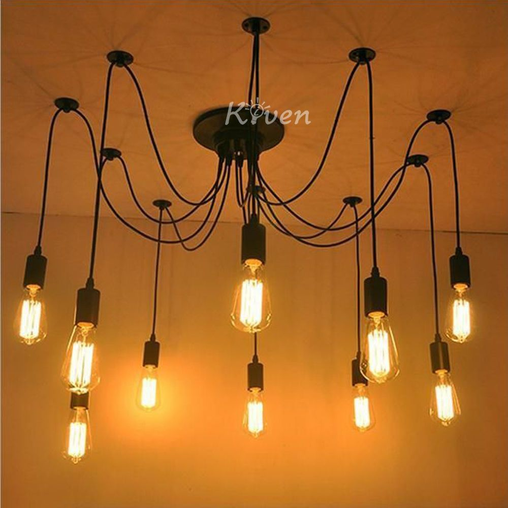 New Vintage Industrial DIY Ceiling Lamp Edison Light chandelier Pendant Lighting #Kiven #Modern