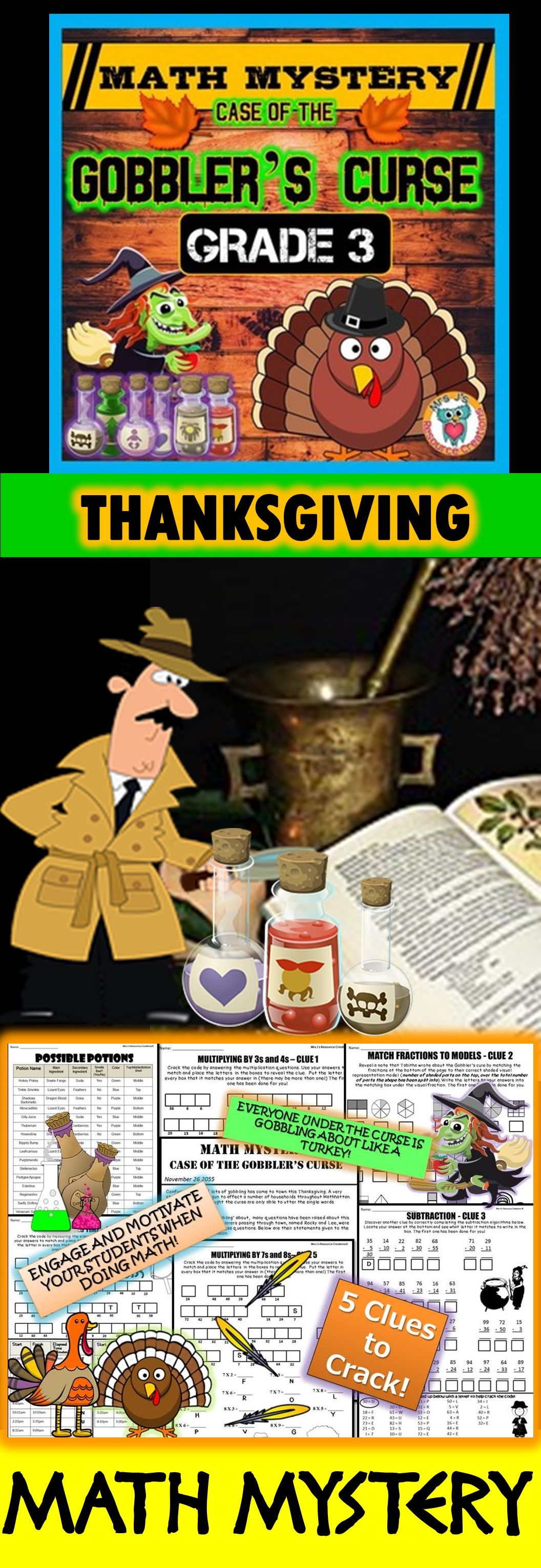 3rd Grade Thanksgiving Activity Thanksgiving Math Mystery